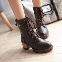 彼艾2016秋冬新款马丁靴女粗跟短靴系带高跟单靴皮带扣短筒靴女靴子