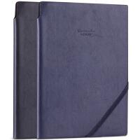 【满99-30满199-80】得力22215笔记本商务复古25K记事本插笔PU皮面日记本带绳