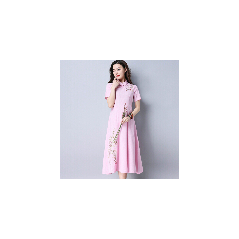 波柏龙 欧根纱旗袍连衣裙 新款中式立领显瘦改良旗袍