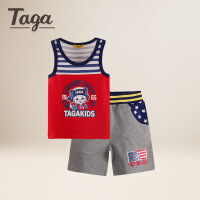 TAGA童装 2017夏装男童套装中大童短袖T恤两件套儿童POLO衫