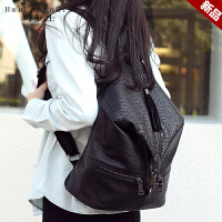 玛罗士 新款女包2017欧美风时尚双肩包简约休闲多隔层大容量背包书包旅行包
