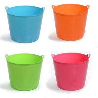 普润 大号带出水口环保塑料储水桶 儿童沐浴桶 婴儿沐浴盆 杂物桶 桶储物 收纳桶 橙色
