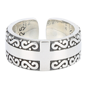 戴和美珠宝首饰 S925银戒指六字箴言戒指