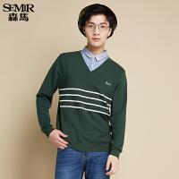 森马针织衫秋装时尚男士V领条纹套头假两件毛衫韩版温暖毛衣