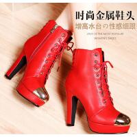 秋冬季女靴子高跟鞋骑士靴粗跟短靴女红色短筒防水台女鞋