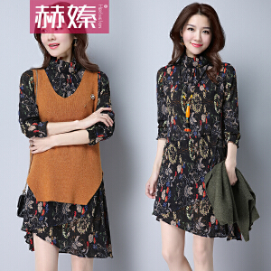 【满200减100】【hersheson赫��】2017夏季韩版女装套装裙两件套印花雪纺连衣裙H2286