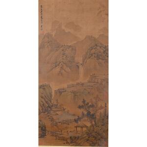 1495     吴镇《深山访友图》     多位名家收藏章