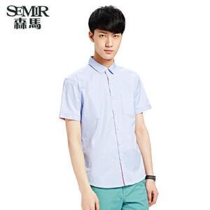 森马夏装新款短袖衬衫 男士韩版时尚休闲竖条纹衬衫衬衣男装
