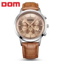 多姆(DOM)手表 男表大表盘多功能运动防水皮带手表男士