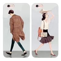苹果iphone6s硅胶手机壳5s保护套4.7/5.5寸plus文艺情侣全包保护苹果iphone6s硅胶手机壳5s文艺保护套4.7/5.5 plus日韩全包软壳潮