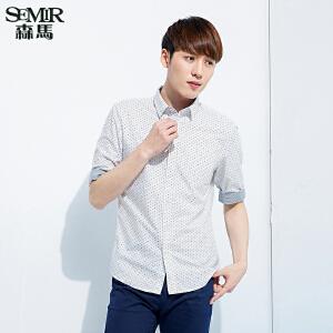 森马长袖衬衫 春装 男士五分袖方领波点棉质衬衣韩版潮男
