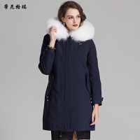 冬季新款女士皮草外套兔绒内胆貉子领帽中长款派克服军大衣
