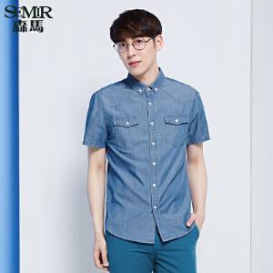 森马牛仔短袖衬衫 夏装 男士方领直筒水洗男装衬衣韩版潮