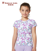 探路者TOREAD品牌童装 夏装女童风格系列满印圆领短袖T恤