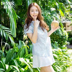 森马短袖衬衫 夏装 女士休闲翻领格子棉麻直筒衬衣韩版潮
