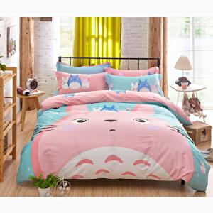 OLYI 纯棉床上用品四件套 全棉斜纹活性印花床单式家纺四件套 漫喵床品四件套 床上四件套