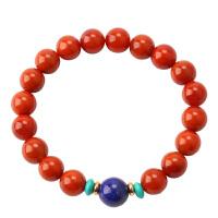 戴和美 天然南红玛瑙配青金石圆珠手串(附鉴定证书)