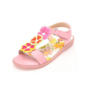 鞋柜夏季新款花朵装饰魔术贴平跟露趾女童鞋凉鞋