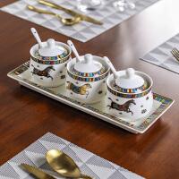 奇居良品 欧式厨房套装 艾玛仕陶瓷调料罐调味罐子四件套