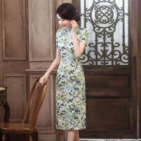波柏龙 2017夏装新款长款亚麻旗袍 时尚复古连衣裙短袖旗袍