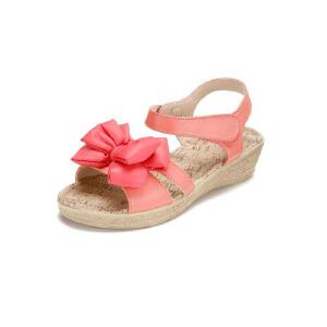 鞋柜SHOEBOX 2016夏季新款女童可爱舒适透气蝴蝶结装饰坡跟凉鞋