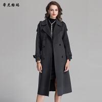 秋冬新款女士翻领长款大衣外套收腰系带双面羊毛呢大衣女装M-616360