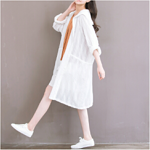 【当当年中庆】波柏龙 中长款棉麻空调开衫宽松文艺白色防晒衣