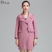 秋冬女士韩版翻领外套时尚修身双面羊毛呢大衣C16063