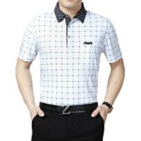 男装短袖T恤中老年男士时尚商务T恤衫格子