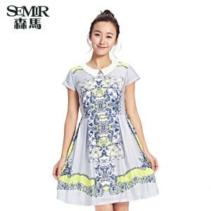 森马夏装新款连衣裙女装娃娃领中长款裙子印花淑女雪纺连衣裙