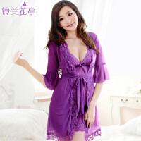 睡衣 女 夏季透明诱惑家居服铃兰505蕾丝吊带睡裙 性感睡袍三件套