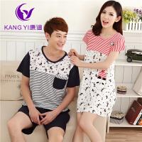 香港康谊 夏季新品女士短袖 睡衣 女 纯棉质 条纹可爱情侣装家居服