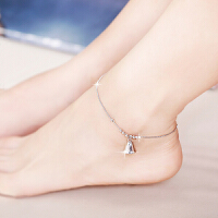 相思树 925银脚链女款 日韩学生简约时尚银饰品铃铛转运珠子脚链 生日礼物
