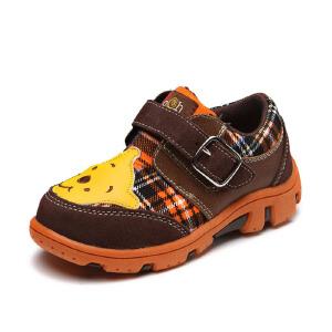 鞋柜shoebox 春秋新款可爱维尼熊魔术贴男童鞋