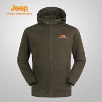 【618狂欢购】Jeep/吉普 秋冬男士户外防风保暖运动卫衣拼接连帽J662011354
