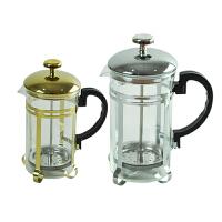 耐热玻璃冲茶器/法压壶/手冲滤压式煮咖啡壶/红茶过滤泡茶器 土豪金-350ml