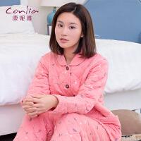 康妮雅睡衣 女士冬季夹棉加厚甜美可爱翻领家居服套装可外穿
