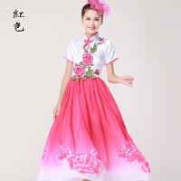 中国风青花瓷大合唱服民乐古筝二胡古典演出服伴舞长裙新款女