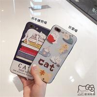 包邮 卡通猫咪iphone6s浮雕手机壳苹果7全包边保护套6plus/7p可爱外壳