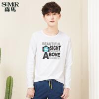 森马长袖T恤 2017春季新款 男士韩版打底衫字母印花青年休闲上衣