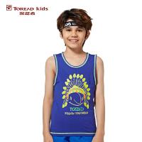 探路者TOREAD品牌童装 夏装男童动物系列无袖T恤 儿童背心