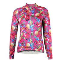 半拉链透气长袖外套上衣 速干彩色自行车骑行服 女款修身衣山地公路单车骑行套装