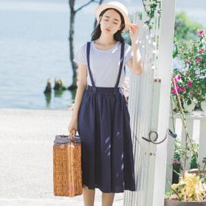 波柏龙春夏新款韩国短袖+背带裙两件套