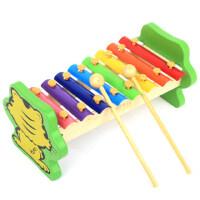 方圆木玩小老虎手敲琴 木制八音阶玩具 儿童益智启蒙音乐玩具