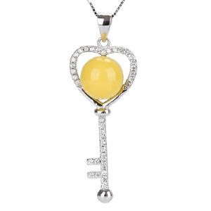 戴和美珠宝首饰 项链/吊坠琥珀蜜蜡925银镶嵌蜜蜡吊坠银吊坠