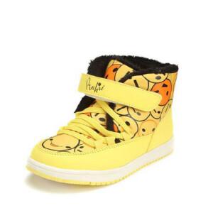 鞋柜SHOEBOX冬款女童魔术贴印花高帮男童休闲鞋