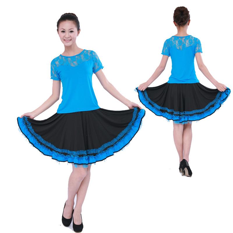 舞蹈服 夏季成人休闲服练功服套装蕾丝短袖 网纱裙子套装 广场舞表演