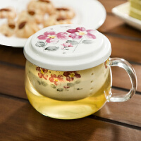 爱屋格林Evergreen 时尚创意印花陶瓷过滤胆带盖耐热玻璃花茶杯