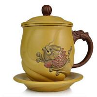 唐丰 大号紫砂个人办公杯450ml 宜兴功夫茶具活陶手工雕鱼跃龙门泡茶杯