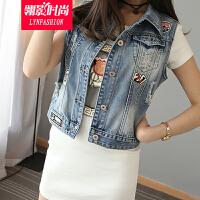 翎影时尚 2016夏季新款牛仔马甲女短款修身显瘦胖MM牛仔背心外套